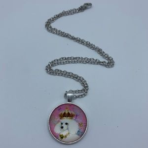 New poodle queen cabochon fashion pendant necklace